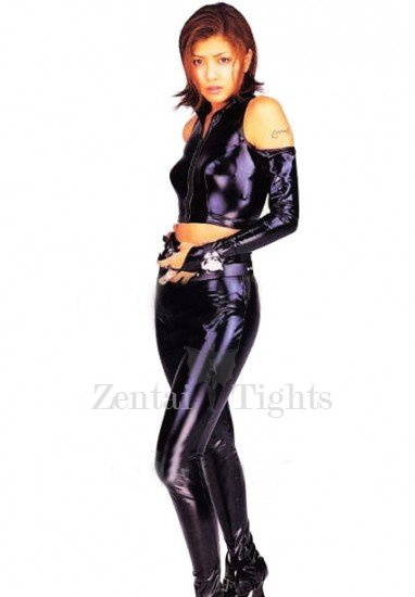 Black Shiny Metallic Sleeveless Jacket with Trousers