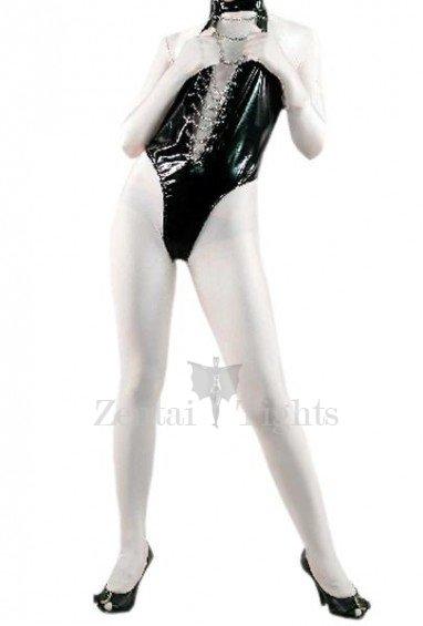 Black Shiny PVC Sleeveless Women\'s Leotard