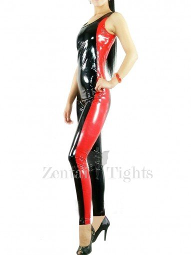 Black with Red Half Length Sleeveless PVC Unisex Jumpsuit