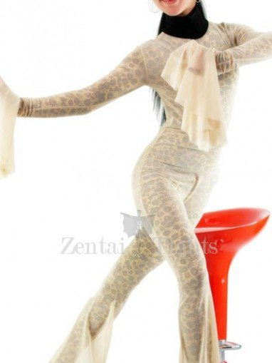 Leopard Stripe Lycra Spandex Catsuit with Velour Outfit Cover