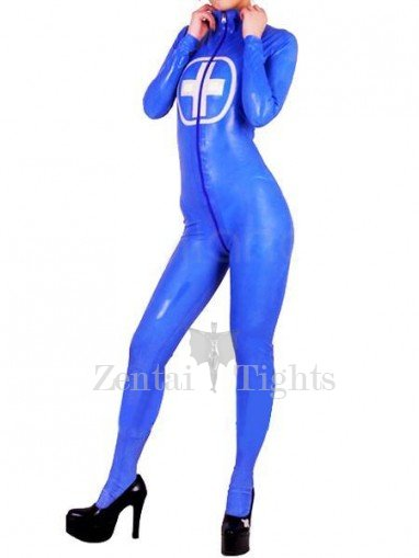 Navy Blue Front Open PVC Unisex Catsuit with Cross Pattern