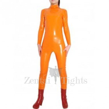 Orange Shiny PVC Catsuit