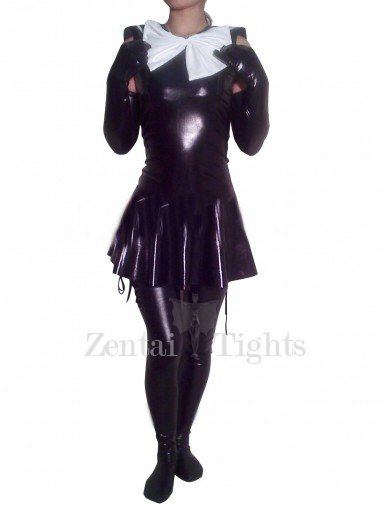 PVC Maid Style Catsuit with Shoulder Length Gloves and Stockings