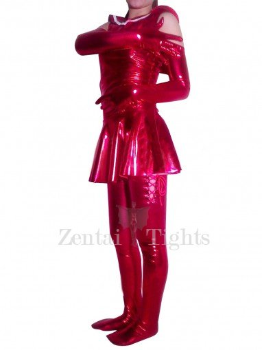PVC School Uniform Style Catsuit with Shoulder Length Gloves and Stockings