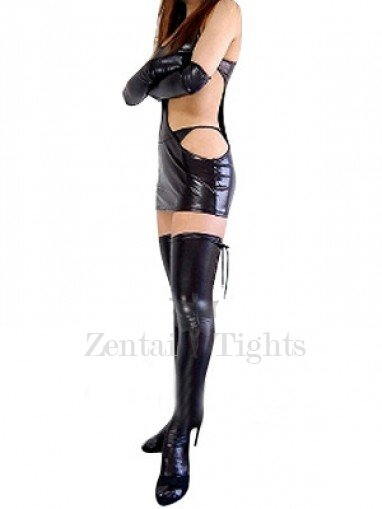 Top Unusual Black Shiny Metallic Sexy Dress