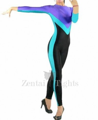 Unique Mixed color Lycra Spandex Open Catsuit