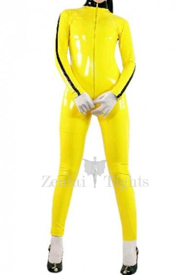 Yellow Front Open With Stripe Pattern Shiny PVC Catsuit