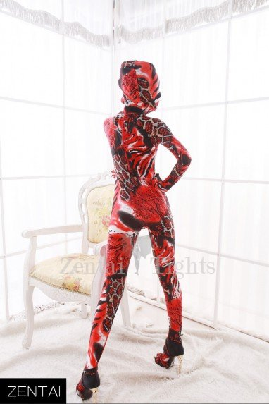 Red Animal Pattern Combination Full Body Morph Suit Zentai Tights Dupont Morph Suit Zentai Catsuit