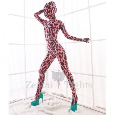 Red Leopard Spots DuPont Morph Suit Zentai Catsuits Tights