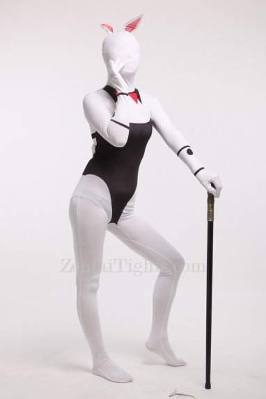 Black and White Bunny Girl Full Body Spandex Holiday Unisex Cosplay Zentai Suit