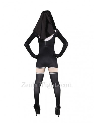 Black and White Jesus Ssiter Halloween Full Body Spandex Holiday Unisex Lycra Morph Zentai Suit