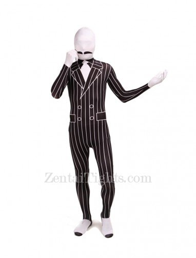 Black and White Stripe Full Body Halloween Spandex Holiday Unisex Cosplay Zentai Suit