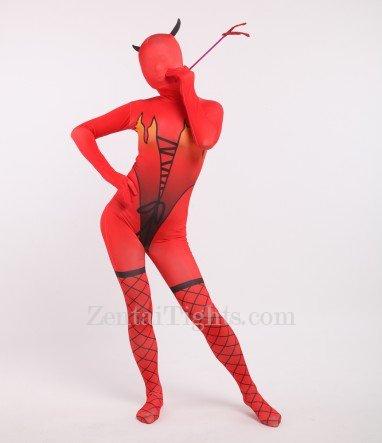 Halloween Red Elf Full Body Spandex Holiday Unisex Cosplay Zentai Suit