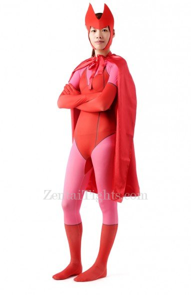 Red Halloween Super Hero Women Full Body Spandex Holiday Unisex Cosplay Zentai Suit