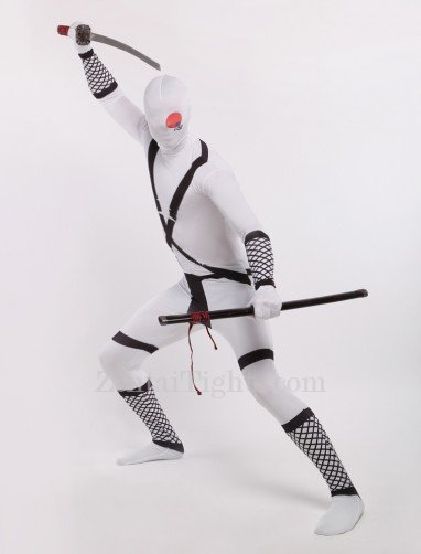 White Japanese Ninja Halloween Full Body Spandex Holiday Unisex Lycra Morph Zentai Suit