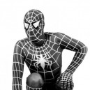 Supply White Stripe Black Lycra Spandex Spiderman Morph Suit Zentai Costume - Spider man 3 Costume