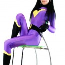 Purple With Black Lycra Spandex Morph Suit Zentai Catsuit