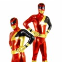 Supply Red and Black Shiny Metallic  Super Hero Unisex Morph Suit Zentai Catsuit