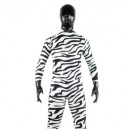 Black And White Zebra Patern Shiny Metallic Lycra Spandex Morph Suit Zentai Suit