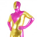 Cherry Pink And Gold Shiny Metallic Super Hero Morph Suit Zentai Suit