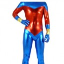 Suitable Blue And Red Shiny Metallic Unisex Morph Suit Zentai Suit