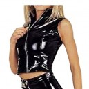 Supply Front Open Black Sexy Shiny PVC Catsuit