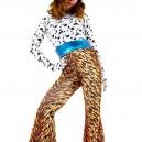 Lycra Spandex Black Dots Shirt and Leopard Stripe Trousers