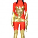 Supply Red Lycra Spandex Unisex Catsuit with Gold Shiny Metallic Phoenix
