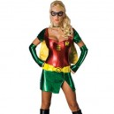 Supply Red Batgirl Robin Lycra Shiny Metallic Super Hero