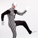 Black and White Strip Clown Full Body Halloween Spandex Holiday Unisex Cosplay Zentai Suit