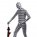 Classic Black and White Check Full Body Halloween Spandex Ho...