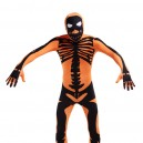 Orange Skull Full Body Halloween Spandex Holiday Unisex Cosp...