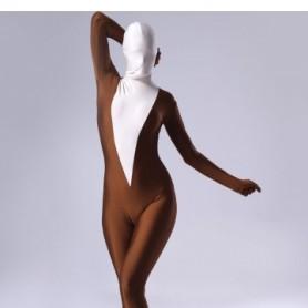 Coffee Lycra Spandex Female Morph Suit Zentai Suit