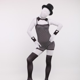 Balck and White Servant Full Body Spandex Holiday Unisex Cosplay Zentai Suit
