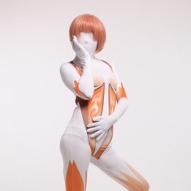 Orange and White Halloween Full Body Spandex Holiday Unisex Cosplay Zentai Suit