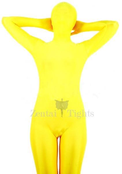 Popular Yellow Lycra Spandex Unisex Morph Suit Zentai Suit