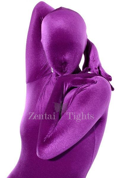 Purple Cotton Lycra Unisex Catsuit