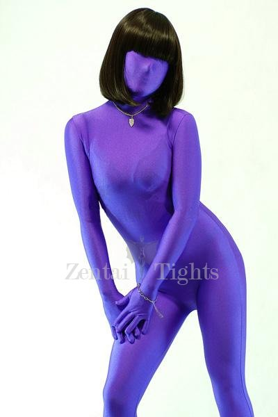 Suitable Purple Lycra Spandex Unisex Morph Suit Zentai Suit
