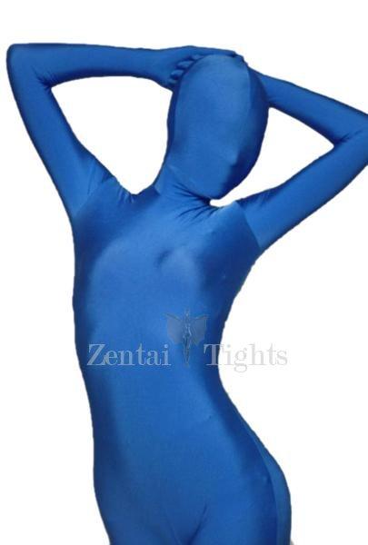 Unicolor Full Body Morph Suit Zentai Tights Blue Lycra Spandex Morph Suit Zentai Suit