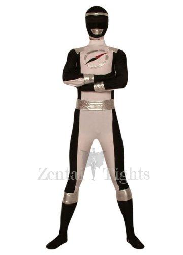 Black And White Lycra Spandex Super Hero Costume