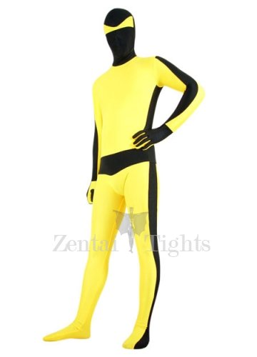 Black with Yellow Lycra Spandex Unisex Morph Suit Zentai Suit