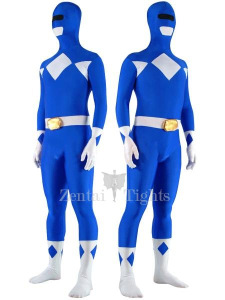 Blue with White Lycra Spandex Unisex Morph Suit Zentai Suit