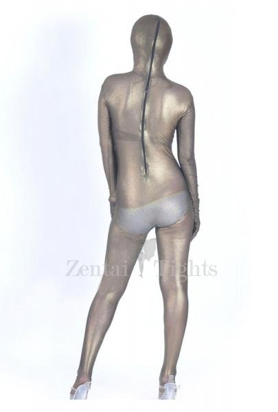 Brown Silk Lycra Spandex Morph Suit Zentai Suit
