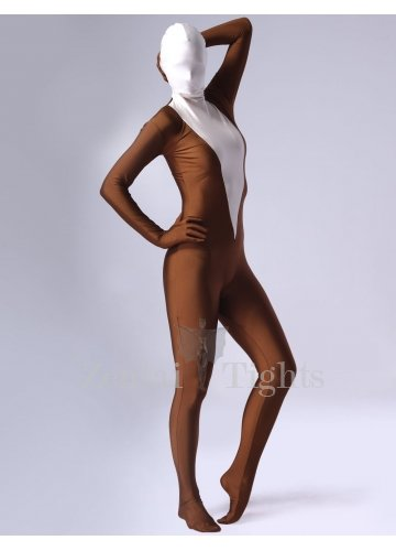 Coffee Lycra Spandex Female Morph Suit Zentai Suit