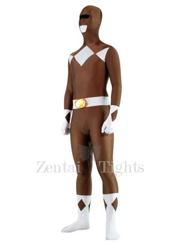 Coffee and White Lycra Spandex Unisex Morph Suit Zentai Suit