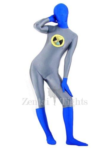 Gray with Blue Lycra Spandex Unisex Morph Suit Zentai Suit