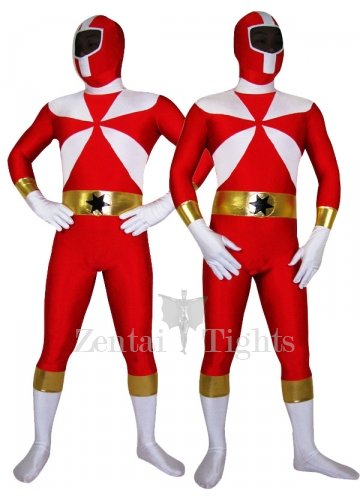 Red With White Lycra Spandex Morph Suit Zentai Suit