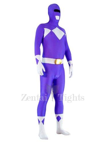 Violet and White Lycra Spandex Unisex Morph Suit Zentai Suit