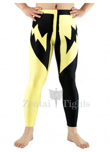 Black and Yellow Pattern Lycra Spandex Catsuit Trousers