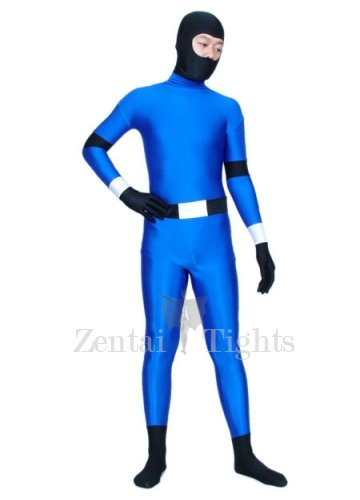 Blue And Black Ninja Spandex Morph Suit Zentai Suit